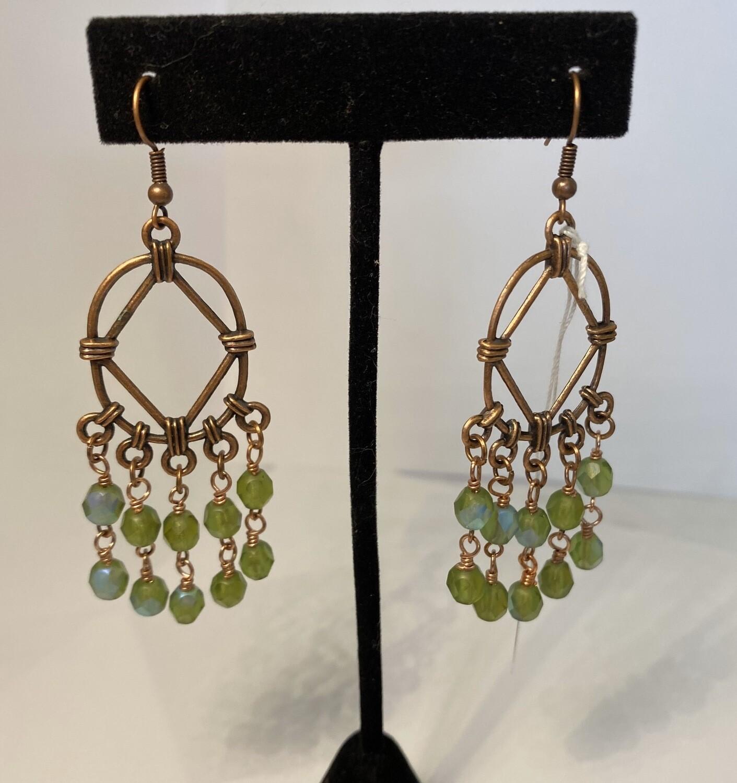 DK Copper Chandelier Light Green Crystals Earrings