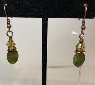 DK African Jade And Crystal Earrings