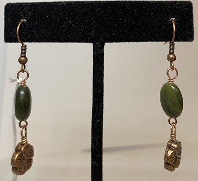 DK African Jade With Copper Charm Earring