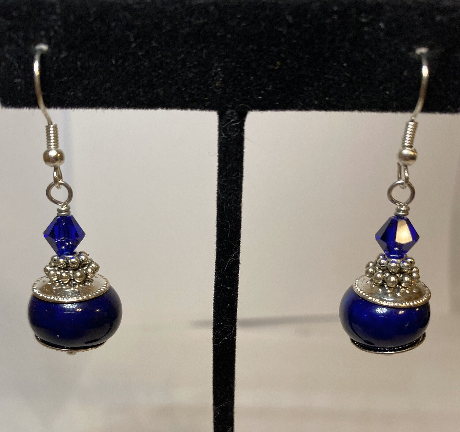 DK Royal Blue Glass With Crystal Earring