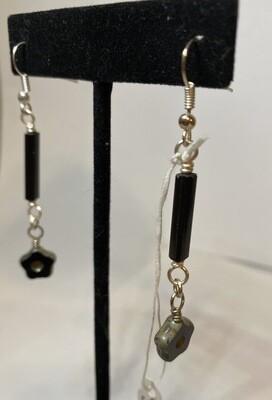 DK Czech Glass Black Stick Earrings