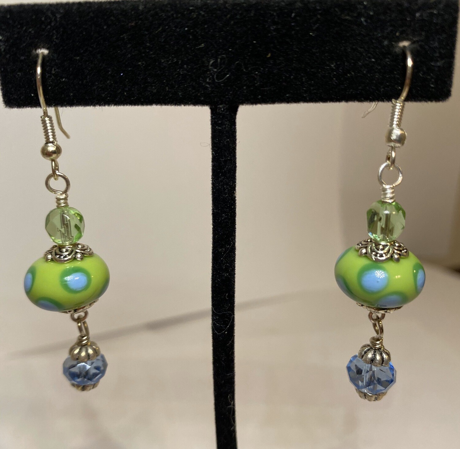 DK Lamp Work Acid Bead 1 Green 1 Baby Blue Crystals Earrings
