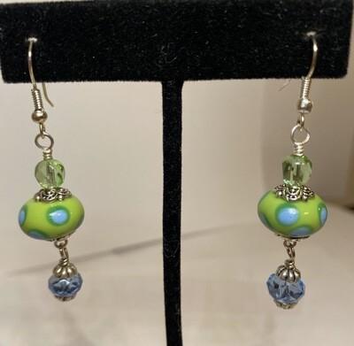 DK Lamp Work Acid Bead 1 Green 1 Baby Blue Crystals Earrings