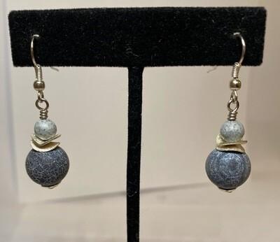 DK Blue Grey Spheres Jasper Bead Earrings