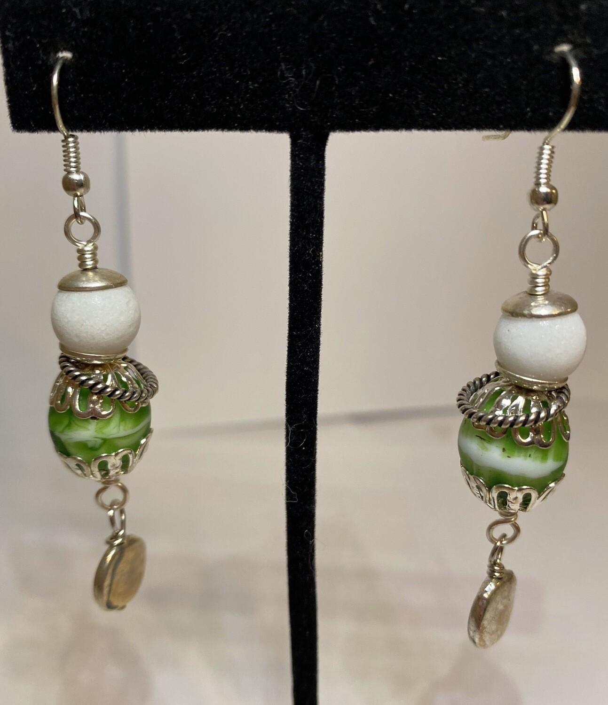 DK Green Wht Porcelain Drop Earring