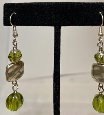 DK Green Glass Drop Earring