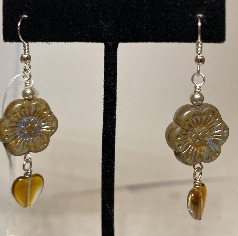 DK Czech Glass Sunburst Amber Glass Heart Earring