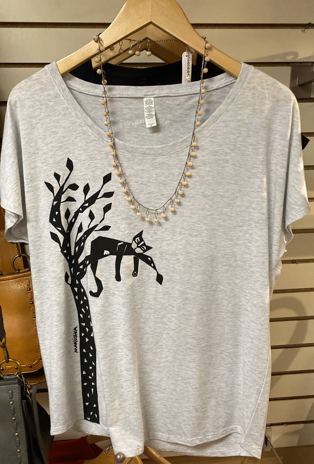 Lounging Tree Cat T Heather Gray Size L
