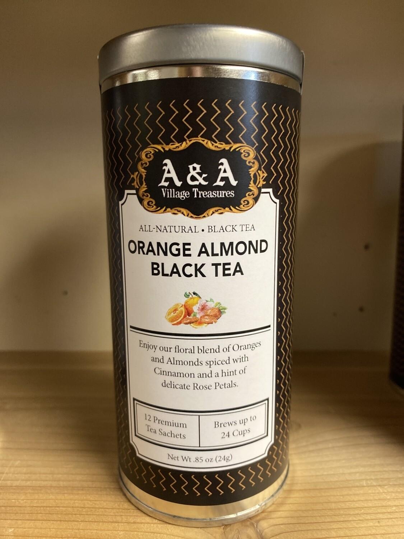 A&A Organic Tea Orange Almond Black 12 Sachets Making 2 To 3 Cups Each