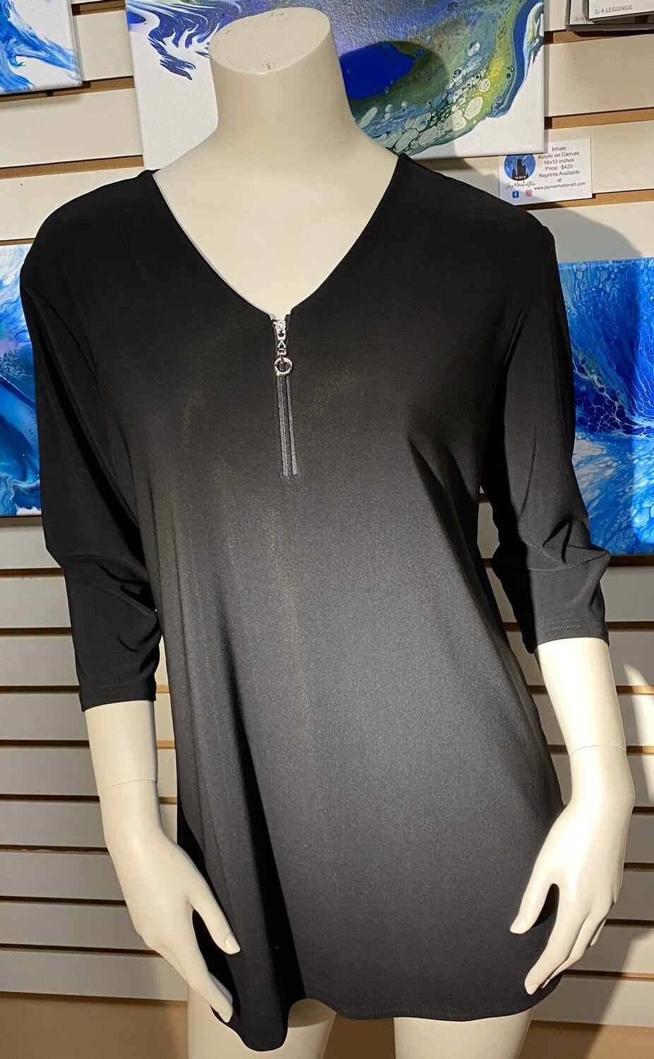 Valentina High Low Zip Top Black Medium