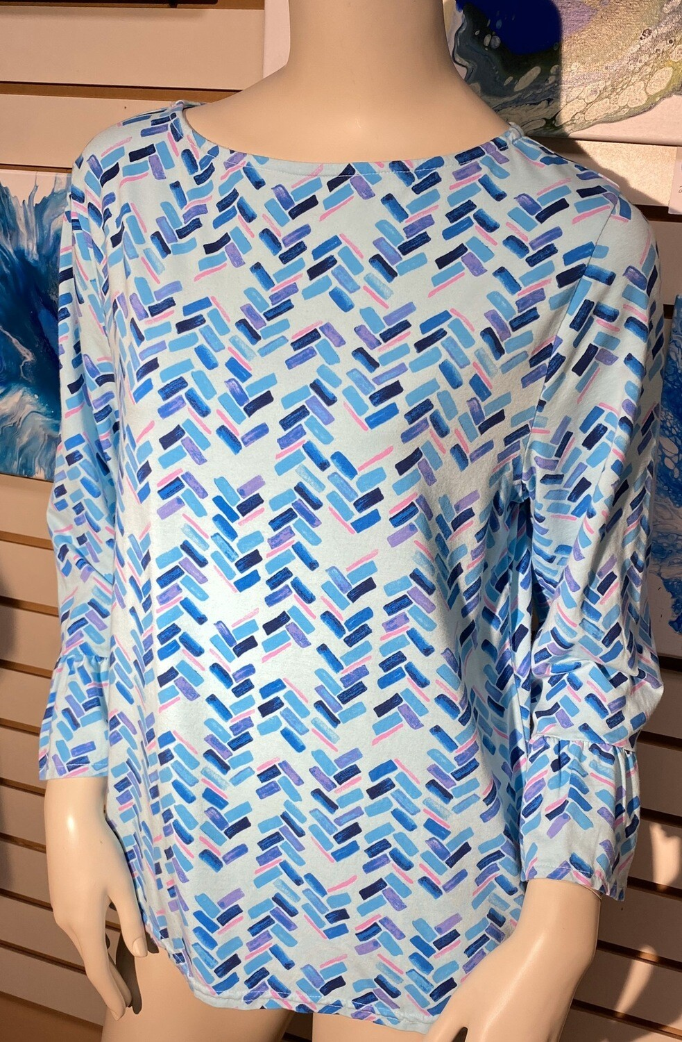 Fresh Produce Abstract Stretch Cotton Top Detailed Sleeve Size Large