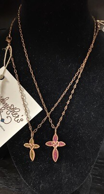 Grandmothers Desk Copper Cross Necklace Pink