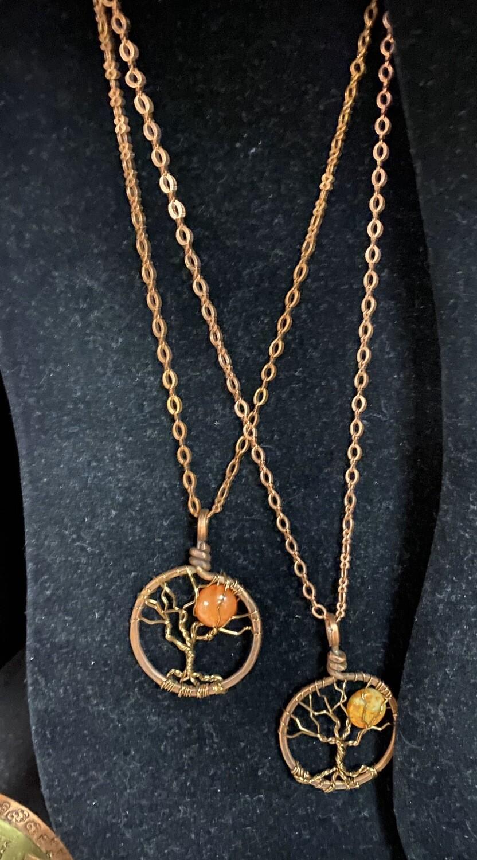 Grandmothers Desk Copper Tree Of Life Long Necklace Orange Moon Stone