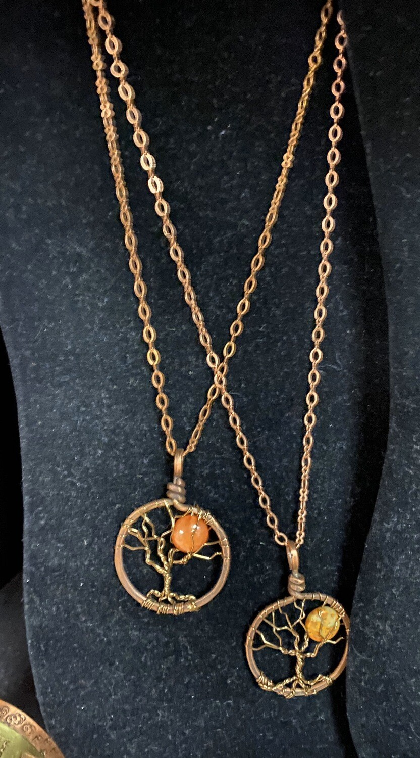 Grandmothers Desk Long Copper Tree Of Life Necklace Yellow Moon Stone