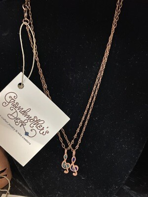 Grandmothers Desk Copper Treble Clef Musical Note Necklace Pink