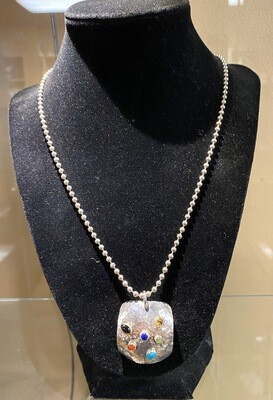 Carlee Sterling Hand Hammered Sterling Silver Charm. Precious Stones. With Sterling Ball Chain Necklace.