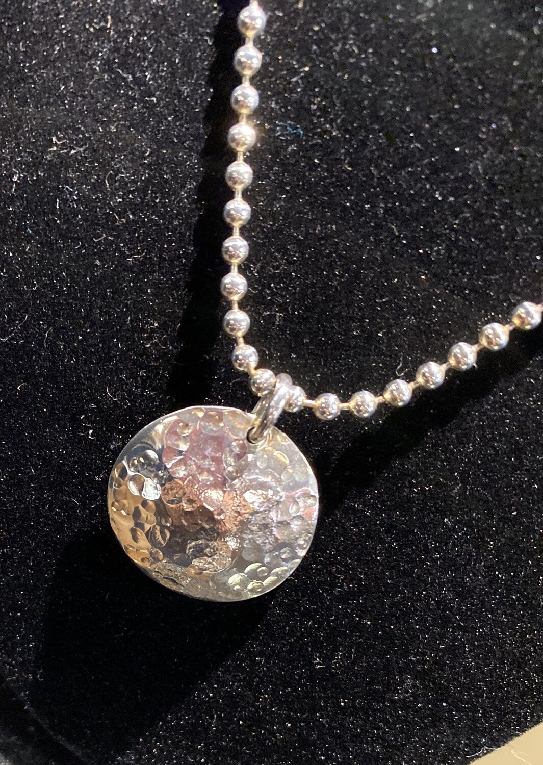 Carlee Hand Hammered Sterling Silver Disk i2 With Sterling Ball Chain Necklace