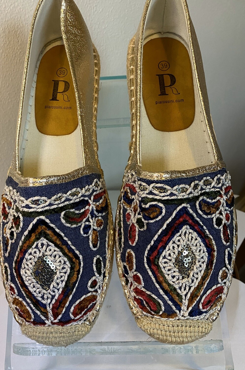 Major Deal Pia Tamar Espadrille Navy & Silver Size 39, Like 81/2, 9