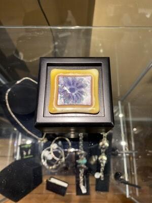 Carlee #P1 Hand Made Wood Keep Sake Box Hand Blown Glass Flower 3X3 Square