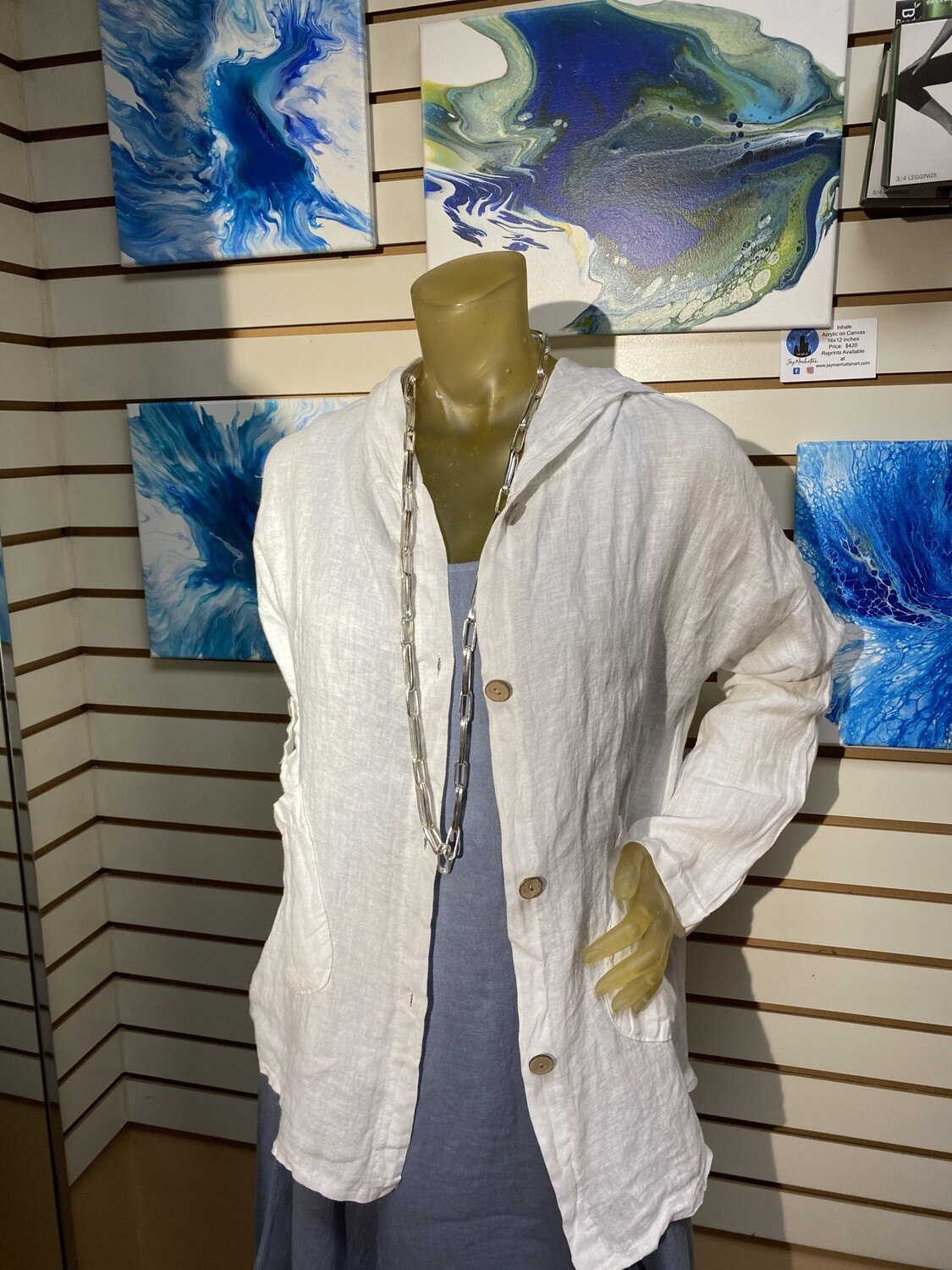 Major Deal Made In Italy White Crinkled Linen Jacket Hooded XS