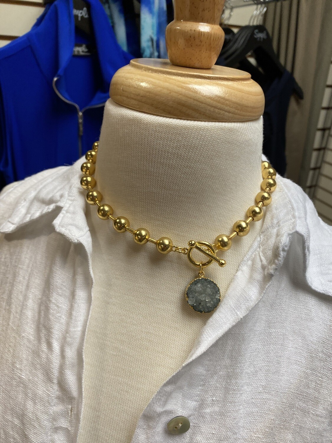 Karin S. Gold Ball And Druzy Crystal