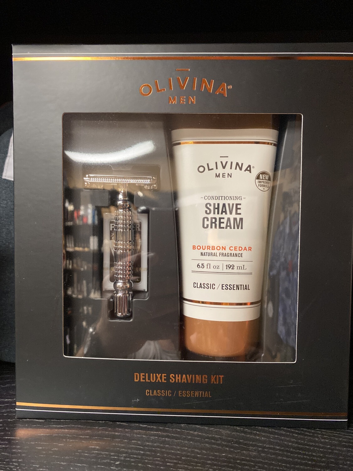 Olivina Shave Cream And Razor Set Bourbon Cedar Wood Box