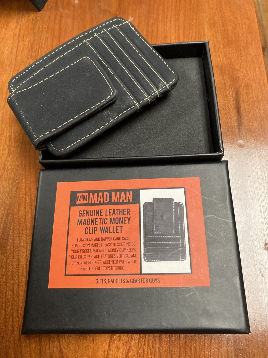 Mad Man Leather Magnetic Money Clip And Credit Card ID Holder