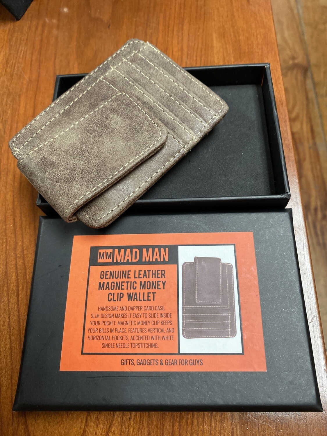 Mad Man Leather Magnetic Money Clip Credit Card Holder Gray/ Tanish