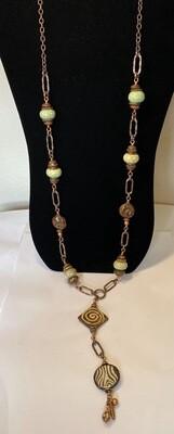 DK Elements. Bone Green Stone Wood Swirl, Zebra Copper Long Necklace