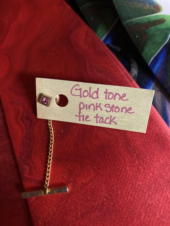 DK Gold Tone Pink Crystal Tie Tack