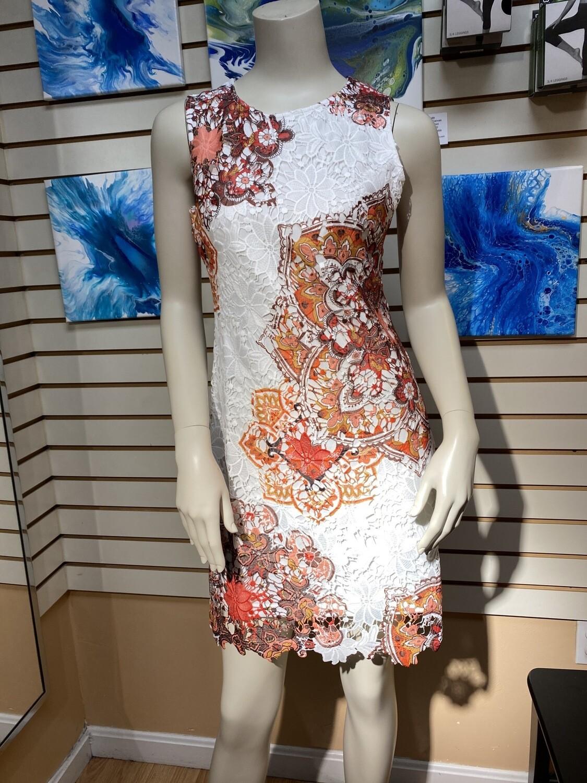 Apricot Mandala Lace Shift Dress. Orange w Lining.