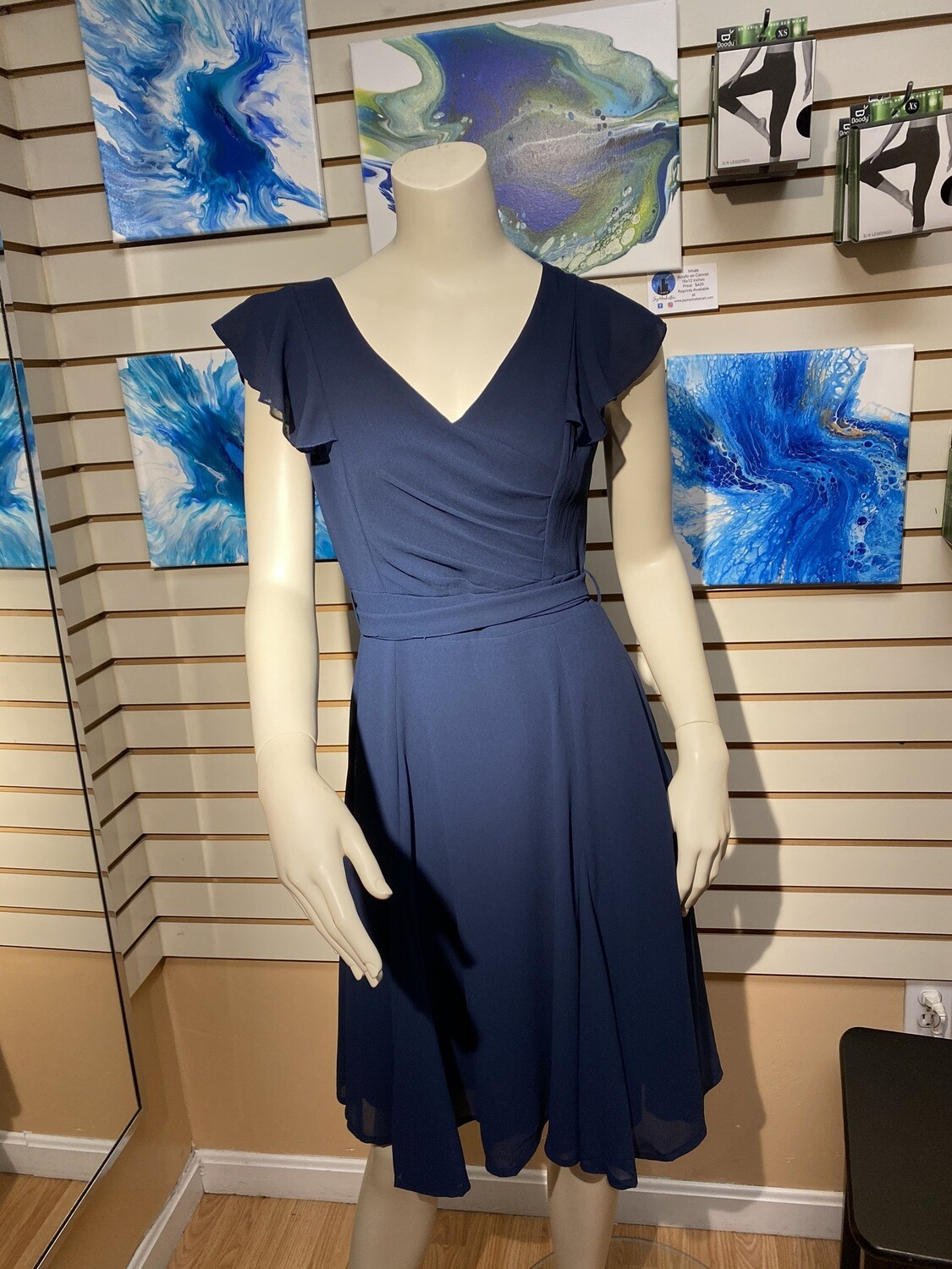 Major Deal Apricot Navy Whispery Dress w Belt. For Front Or Back Tie. Mannequin Is Wearing XS