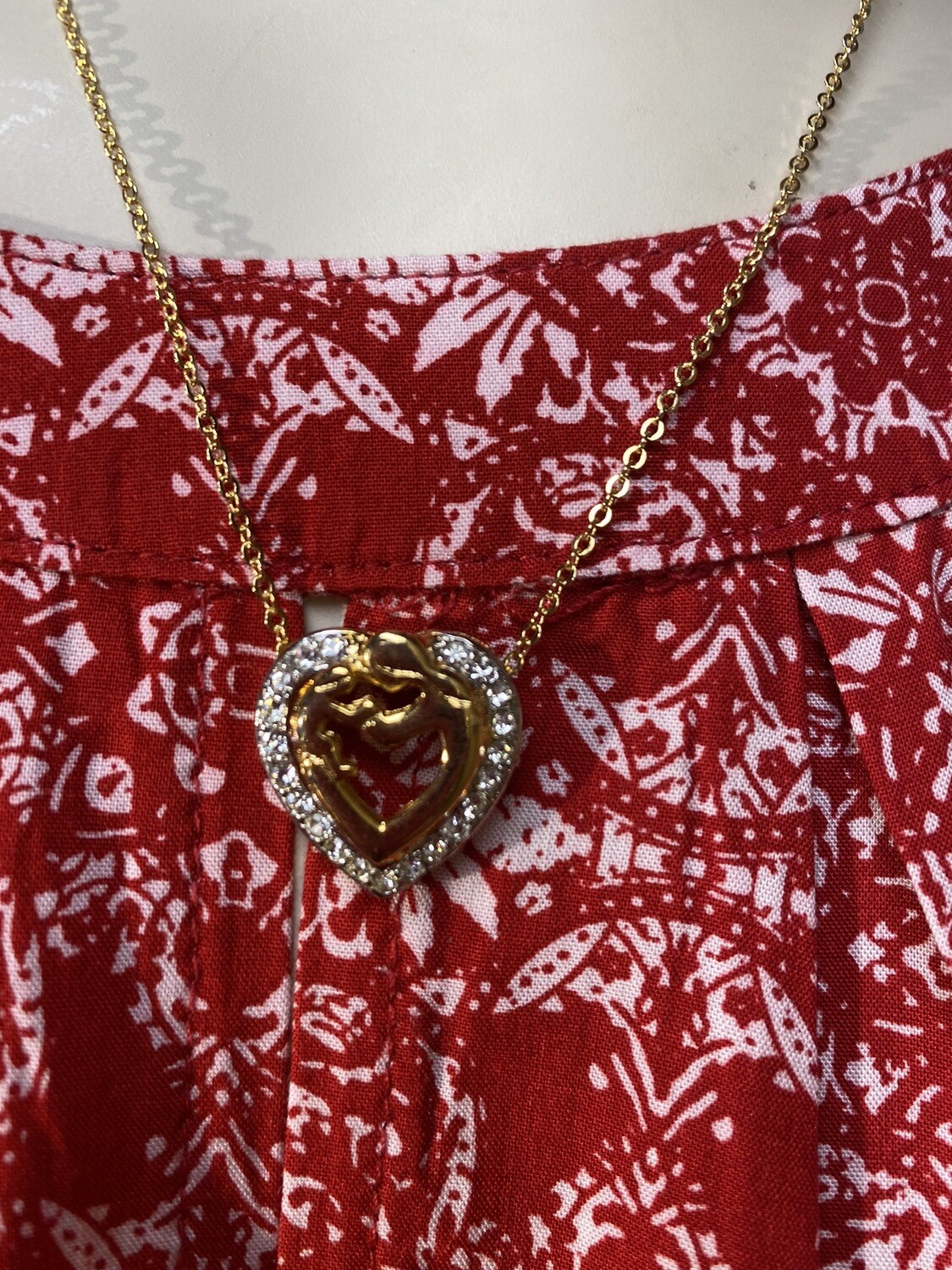 DK Mothers Arms Crystal Heart. Vintage Gold Filled Necklace