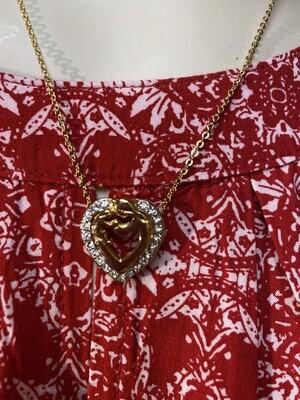 DK Mothers Arms Crystal Heart. Vintage Gold Filled Necklace