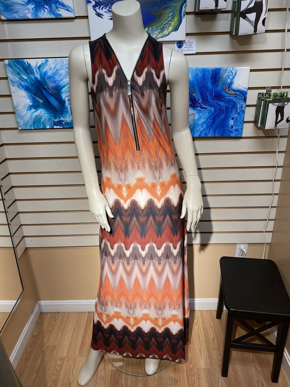 Major Deal Apricot Pyramid Zip Maxi Dress. Multi Color Only In Large
