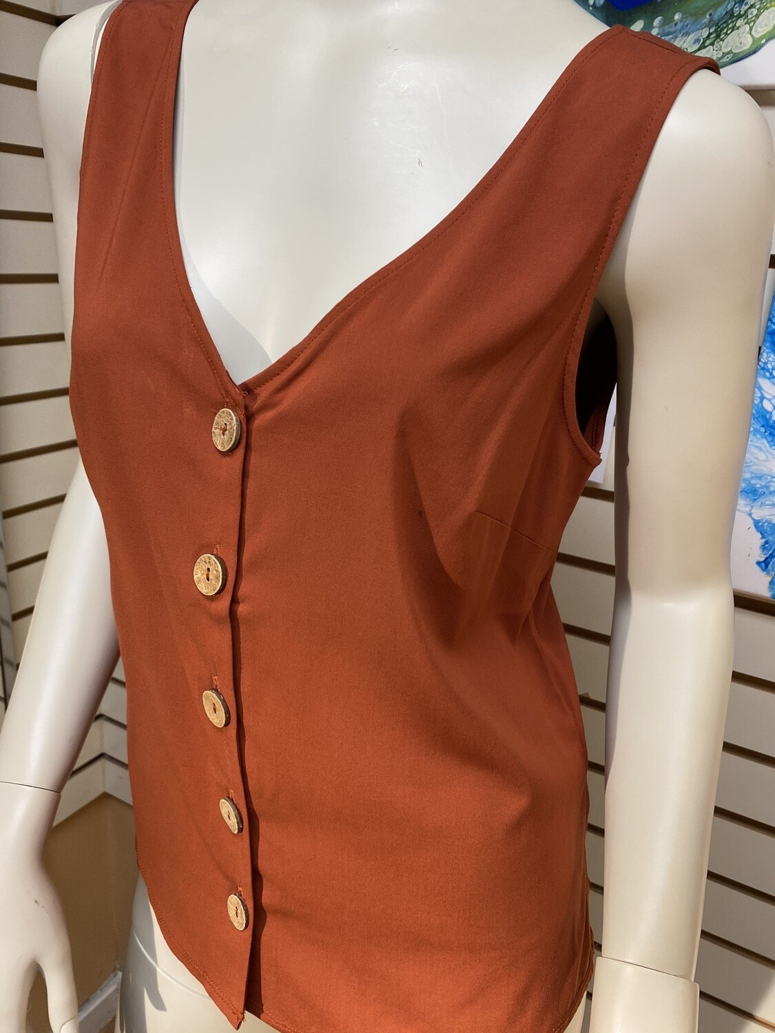 Apricot Brick Vest So Soft. Wood Button Detail Also Available In White.
