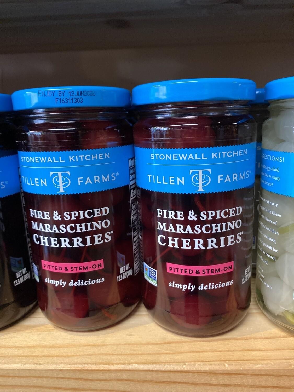 Tillen Farms Fire & Spiced Maraschino Cherries Pitted Stem On