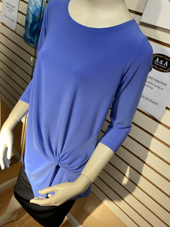 Soft Knit Twist Detail Tunic Black Or Peri