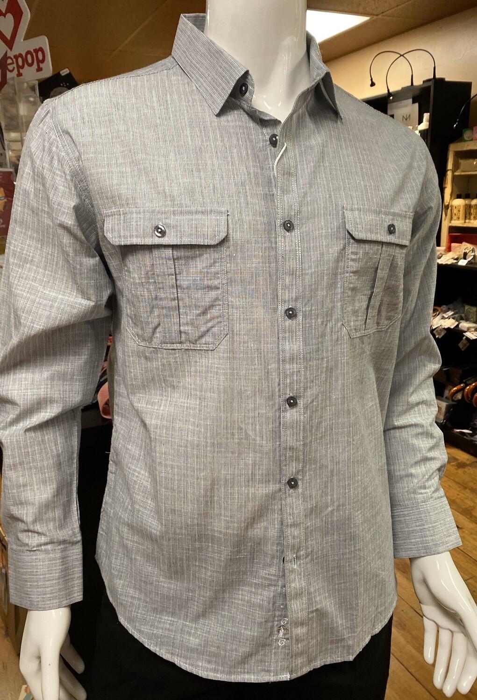 Men's 100# Cotton Long Sleeve Double Pocket. Gray Mini Stripes