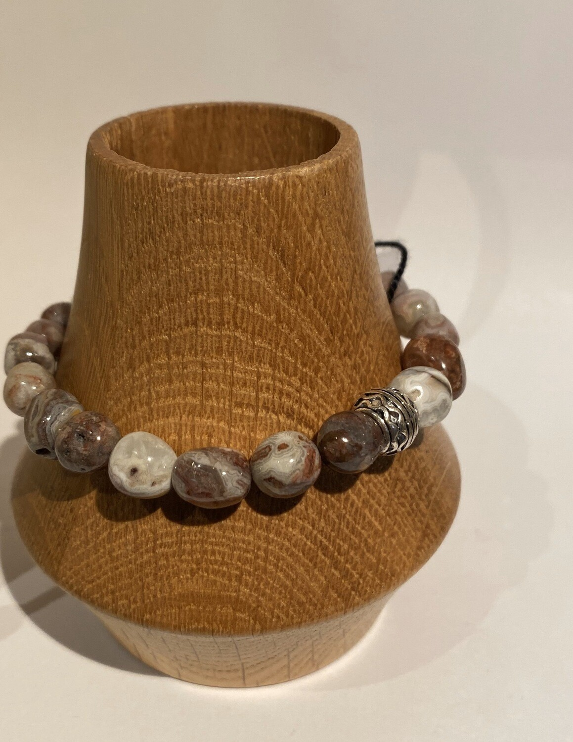 Men's DK Elements Stretch Bracelet. Agate & Pewter.
