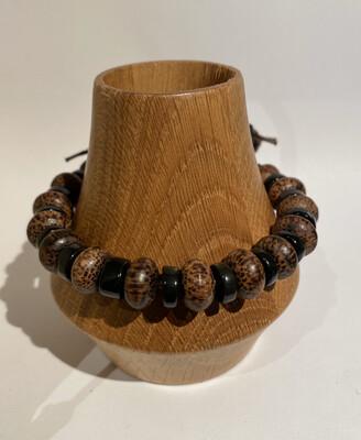 Men's DK Elements Bracelet Pull Adjust Closure. Black Lava Wood And Pewter.