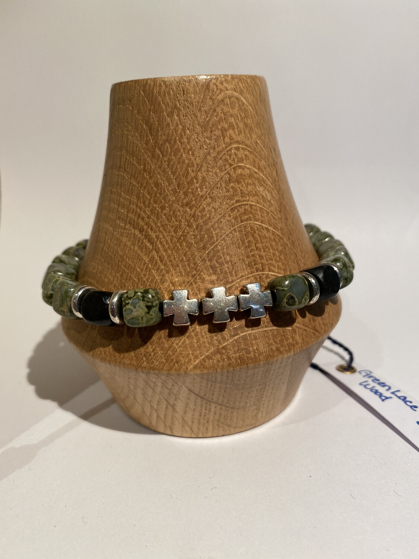 Men's DK Elements Adjustable Bracelet Green Lace Agate And Wood