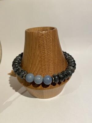Men's DK Elements Stretch Bracelet Snowflake Obsidian Angelite