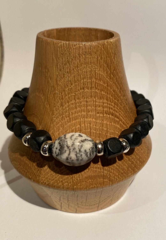 Men's DK Pull String Adjustable Bracelet. Marble And Blk Wood