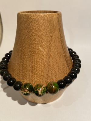 Men's DK Elements Bracelet. Green Jasper And Blk Onyx. Adjustable Pulls.