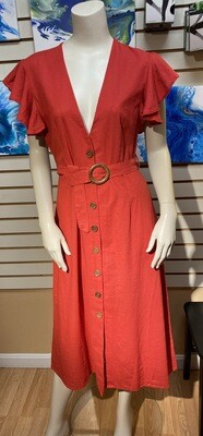 Pia 67% Cotton 33% Linen Dress. Red Brick. Size Medium. Perfect Beach Dress. With A Lacey Cami Under.