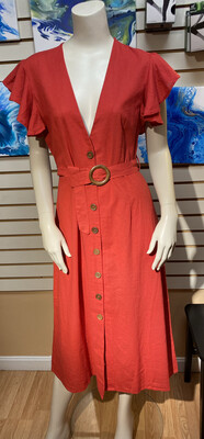 Pia 67% Cotton 33% Linen Dress Brick Red. Size XL. Perfect Summer Dress. With A Lacey Cami Under.
