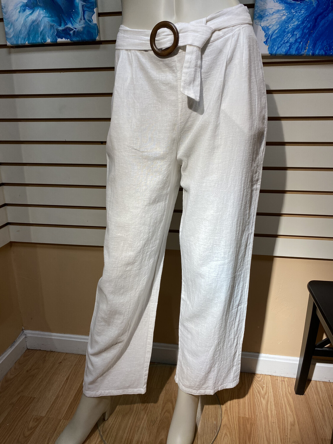 Major Deal Pia Dunes Cotton Linen Trouser White Large