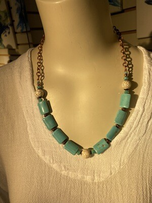DK Elements. White Howlite Blue  Howlite Glass And Copper Turquoise Necklace. One Of A Kind.