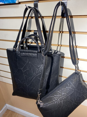 North South Distressed Tote Blk Silver W Side Bag